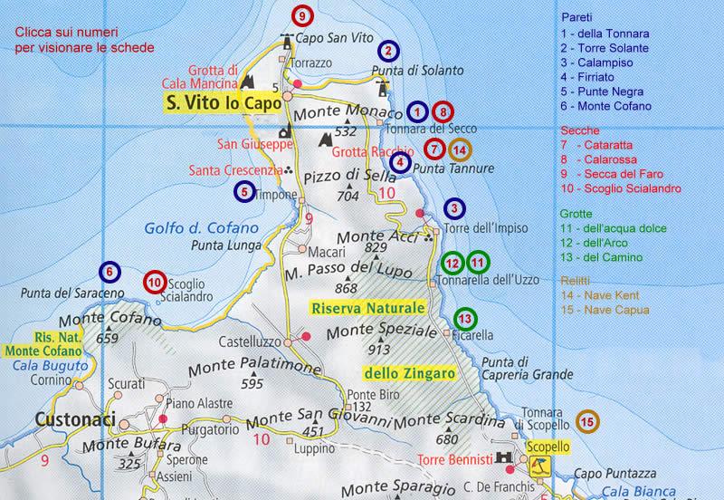 Sicilia Cartina San Vito Lo Capo.Dive Sites And Itineraries For Divers In San Vito Lo Capo